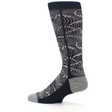Image of Navy White Wave Pattern Men's Casual Socks (side-2-13)