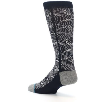 Image of Navy White Wave Pattern Men's Casual Socks (side-2-back-14)