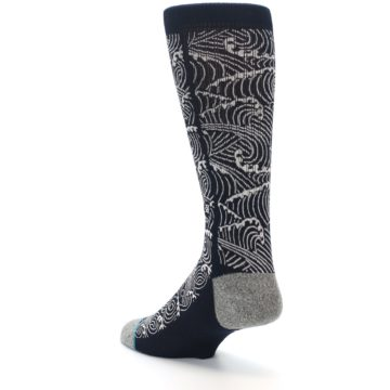 Image of Navy White Wave Pattern Men's Casual Socks (side-2-back-15)