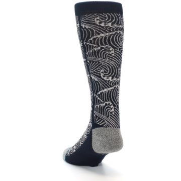Image of Navy White Wave Pattern Men's Casual Socks (side-2-back-16)