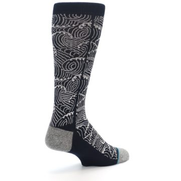 Image of Navy White Wave Pattern Men's Casual Socks (side-1-back-22)