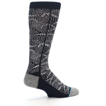 Image of Navy White Wave Pattern Men's Casual Socks (side-1-23)