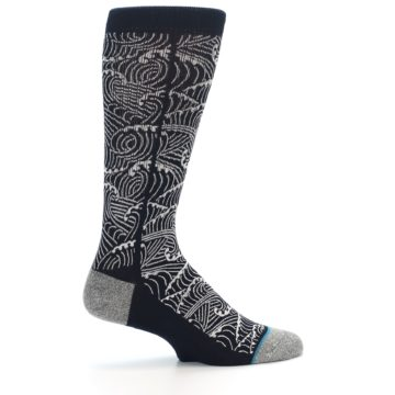 Image of Navy White Wave Pattern Men's Casual Socks (side-1-24)