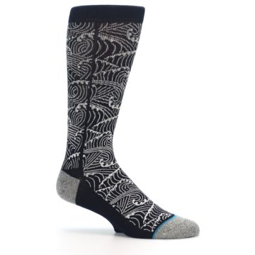 Image of Navy White Wave Pattern Men's Casual Socks (side-1-25)