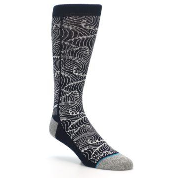 Image of Navy White Wave Pattern Men's Casual Socks (side-1-27)