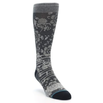 Image of Grey Floral Pattern Men's Casual Socks (side-1-front-02)