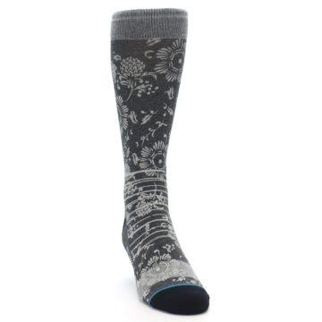 Image of Grey Floral Pattern Men's Casual Socks (side-1-front-03)