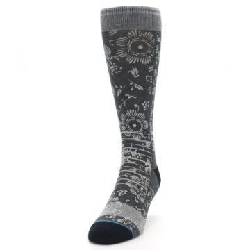Image of Grey Floral Pattern Men's Casual Socks (side-2-front-06)