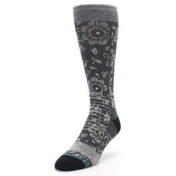 Image of Grey Floral Pattern Men's Casual Socks (side-2-front-07)