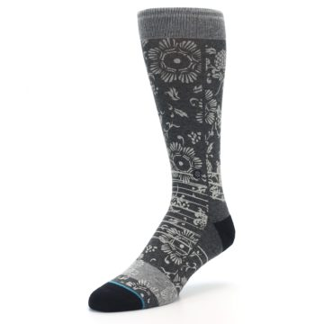 Image of Grey Floral Pattern Men's Casual Socks (side-2-front-08)