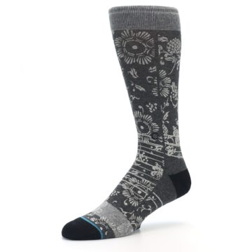 Image of Grey Floral Pattern Men's Casual Socks (side-2-09)