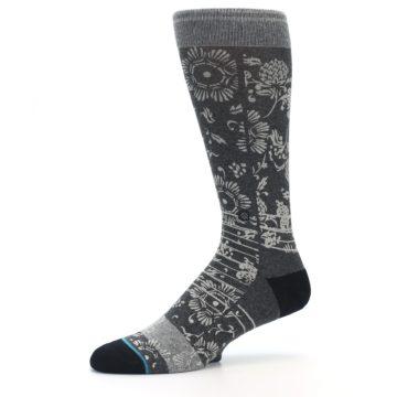 Image of Grey Floral Pattern Men's Casual Socks (side-2-10)