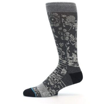 Image of Grey Floral Pattern Men's Casual Socks (side-2-11)