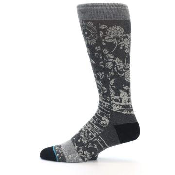 Image of Grey Floral Pattern Men's Casual Socks (side-2-12)