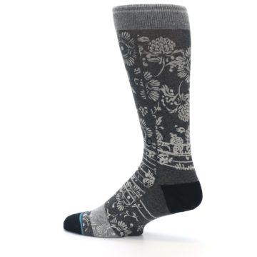 Image of Grey Floral Pattern Men's Casual Socks (side-2-13)