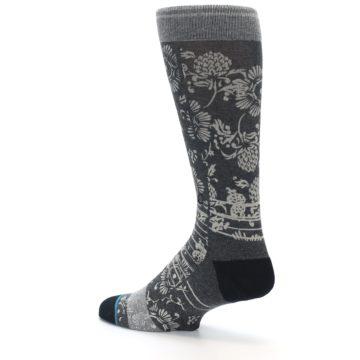 Image of Grey Floral Pattern Men's Casual Socks (side-2-back-14)