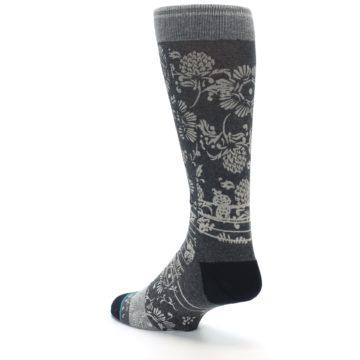 Image of Grey Floral Pattern Men's Casual Socks (side-2-back-15)