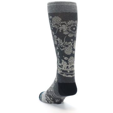 Image of Grey Floral Pattern Men's Casual Socks (side-2-back-16)