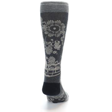 Image of Grey Floral Pattern Men's Casual Socks (back-19)
