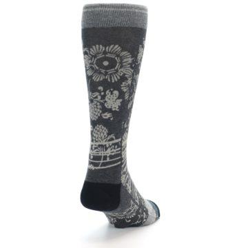 Image of Grey Floral Pattern Men's Casual Socks (side-1-back-20)