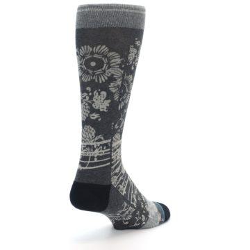 Image of Grey Floral Pattern Men's Casual Socks (side-1-back-21)