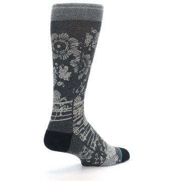 Image of Grey Floral Pattern Men's Casual Socks (side-1-back-22)