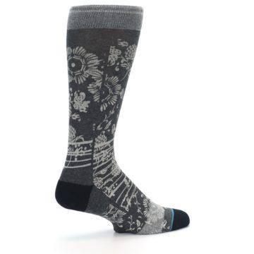 Image of Grey Floral Pattern Men's Casual Socks (side-1-23)