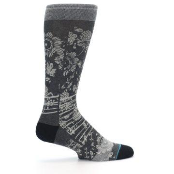 Image of Grey Floral Pattern Men's Casual Socks (side-1-24)