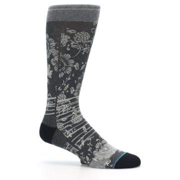 Image of Grey Floral Pattern Men's Casual Socks (side-1-25)