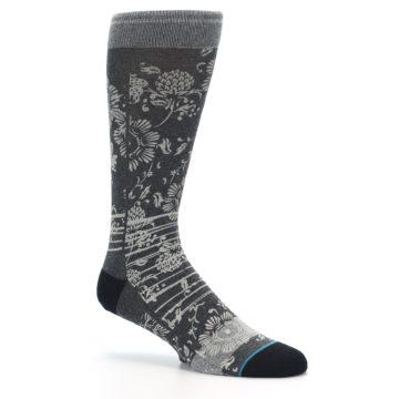 Image of Grey Floral Pattern Men's Casual Socks (side-1-26)