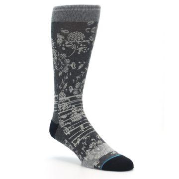 Image of Grey Floral Pattern Men's Casual Socks (side-1-27)