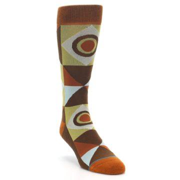 Image of Burnt Orange Brown Gold Geometric Men's Casual Socks (side-1-front-02)