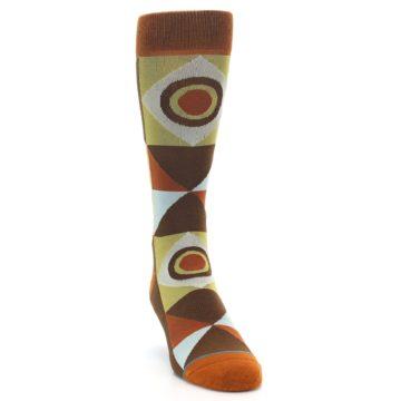 Image of Burnt Orange Brown Gold Geometric Men's Casual Socks (side-1-front-03)
