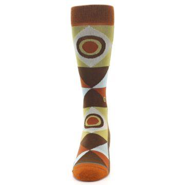 Image of Burnt Orange Brown Gold Geometric Men's Casual Socks (front-05)
