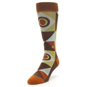 Image of Burnt Orange Brown Gold Geometric Men's Casual Socks (side-2-front-07)