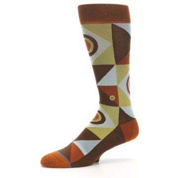 Image of Burnt Orange Brown Gold Geometric Men's Casual Socks (side-2-10)