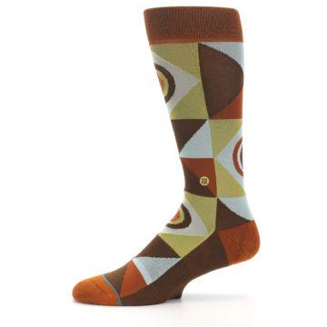 Image of Burnt Orange Brown Gold Geometric Men's Casual Socks (side-2-11)