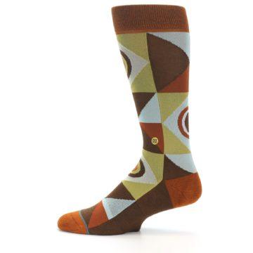 Image of Burnt Orange Brown Gold Geometric Men's Casual Socks (side-2-12)