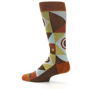 Image of Burnt Orange Brown Gold Geometric Men's Casual Socks (side-2-13)