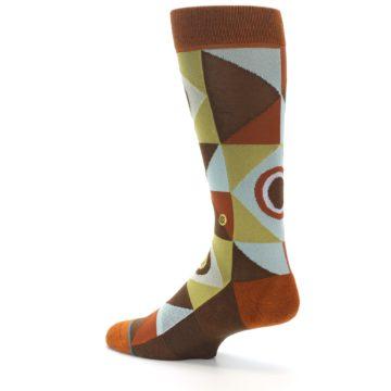 Image of Burnt Orange Brown Gold Geometric Men's Casual Socks (side-2-back-14)