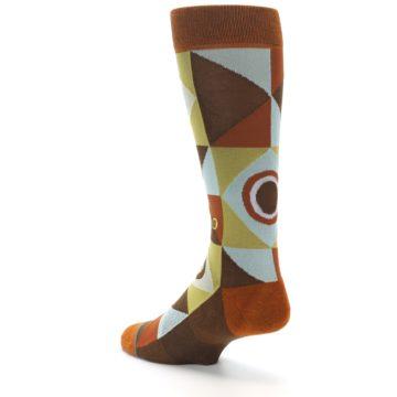 Image of Burnt Orange Brown Gold Geometric Men's Casual Socks (side-2-back-15)
