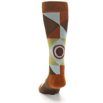 Image of Burnt Orange Brown Gold Geometric Men's Casual Socks (back-17)