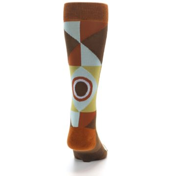 Image of Burnt Orange Brown Gold Geometric Men's Casual Socks (back-19)