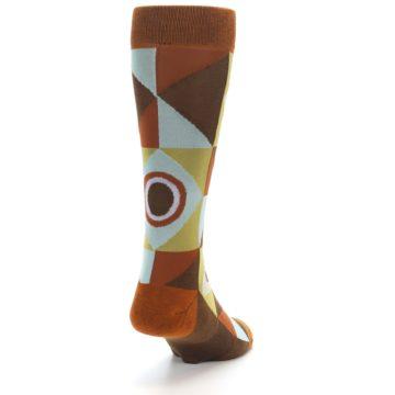 Image of Burnt Orange Brown Gold Geometric Men's Casual Socks (side-1-back-20)