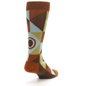 Image of Burnt Orange Brown Gold Geometric Men's Casual Socks (side-1-back-21)