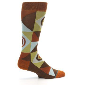 Image of Burnt Orange Brown Gold Geometric Men's Casual Socks (side-1-24)
