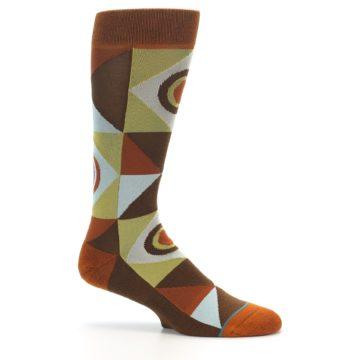 Image of Burnt Orange Brown Gold Geometric Men's Casual Socks (side-1-25)