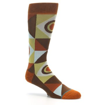 Image of Burnt Orange Brown Gold Geometric Men's Casual Socks (side-1-26)