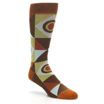 Image of Burnt Orange Brown Gold Geometric Men's Casual Socks (side-1-27)