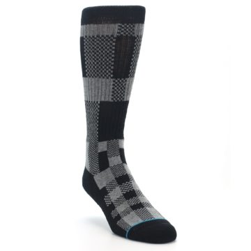 Image of Grey Black Checkered Men's Casual Socks (side-1-front-02)